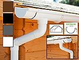 Dachrinnen/ Regenrinnen Set | Satteldach (2 Dachseiten) | Extra100 | in anthrazit, weiß, braun oder schwarz! (Komplettes Set bis 5.25 m, Weiß)