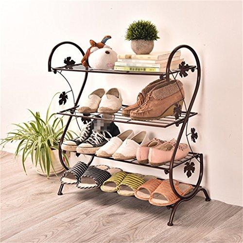 XIAOLVSHANGHANG HORS 4-Tier Schuhregal Eisen Einfache Lagerung Schrank Möbel mit Retro-Design...