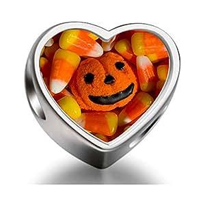 Rarelove Sterling Silver Halloween pumpkin corn candy Heart Photo Charm Beads