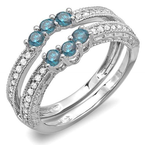 DazzlingRock Collection  -  18 Karat  Weißgold Rundschliff   Getöntes Weiß/Top Cape (K) blau Diamant Blauer Diamant  - Diamond Wrap Guard