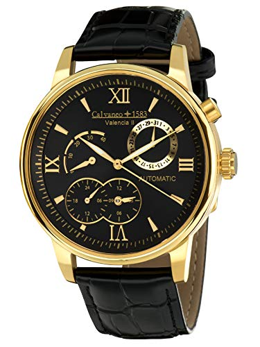 Calvaneo 1583 Automatic Valencia II Men's Quartz Watch with Gold Dial Analogue Display and Black Leather 107934