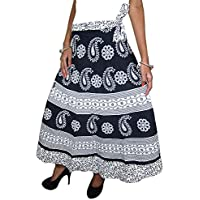 Mogul Interior Women's Long Wraparound Cotton Skirt One Size Black, White
