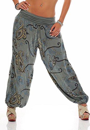 malito Damen Pumphose in vielen Farben und Mustern | Haremshose zum Tanzen | Aladinhose zum Chillen - Freizeithose 7194 (oliv-Floral)