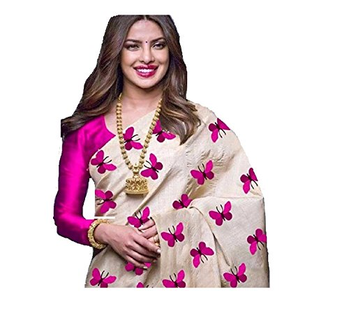 MACUBE Pure Chanderi Cotton Beige and Pink Color Saree With Plain Pink...