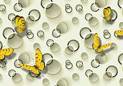 te Ringe 3D Effekt gelb Schmetterlinge S 200 x 140cm - 4 Teile Tapete, Vliestapete, Fototapeten, Wandbild, Motiv-Tapeten Kreise M3983 ()