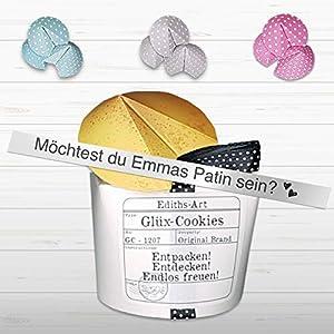 Patin Patentante Gode Geschenkbox - Glüx Cookie Box - Gutscheinbox Taufe Überraschung Taufgeschenk
