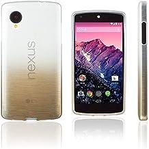 Xcessor Transition de Color Funda Carcasa Para LG Nexus 5. Flexible TPU Gel Con Gradient Hilo De Seda Textura. Transparente / Oro