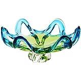 Schale Obstschale Konfektschale Murano Sky Grün Blau D 28,5 cm Traumhaft Handgeformte Schale