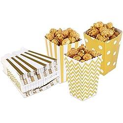 PIXNOR cajas de palomitas de fiesta Candy Bag–cajas de regalo dorado 50piezas