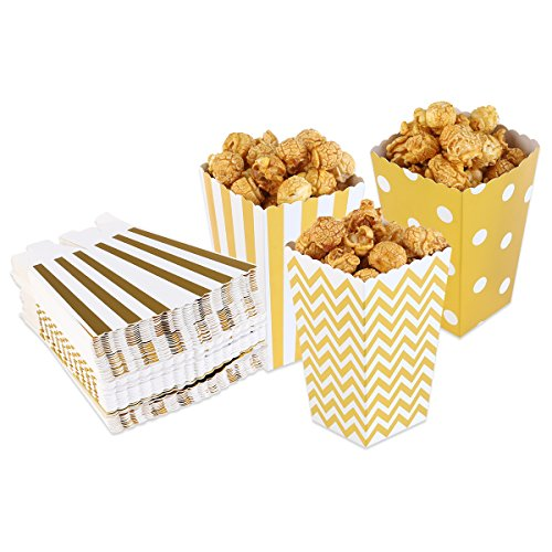 BESTOMZ Popcorn Felder gelben Design Trio Miniatur Scalloped Edge Party Karton Candy Box Container behandeln Kartons Scalloped Gold