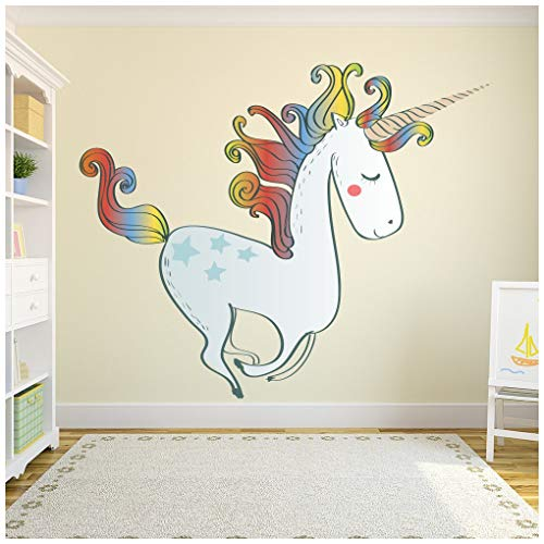 azutura Unicornio del Arco Iris Vinilos Cuento de Hadas Pegatina Decorativos Pared Dormitorio de Las niñas Decoración del hogar Disponible en 8 Tamaños XXX-Grande Digital