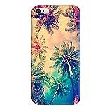 SecondDromi Modèle de cocotier Tropical Soir Coque pour iPhone Se, pour iPhone 5,Jaune