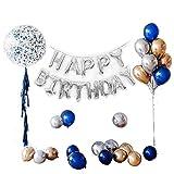 O CAT Geburtstagsdeko, Geburtstag Dekoration Set Kindergeburtstag Deko 1 Ballongirlande Alles Gute zum Geburtstag Happy Birthday + 5 Quaste + 1Transparenter Konfettiwellenball + 24 Metall-Ballon