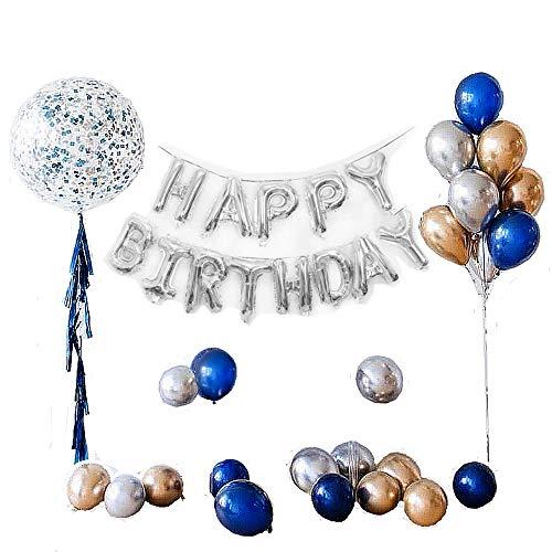 o, Geburtstag Dekoration Set Kindergeburtstag Deko 1 Ballongirlande Alles Gute zum Geburtstag Happy Birthday + 5 Quaste + 1Transparenter Konfettiwellenball + 24 Metall-Ballon ()
