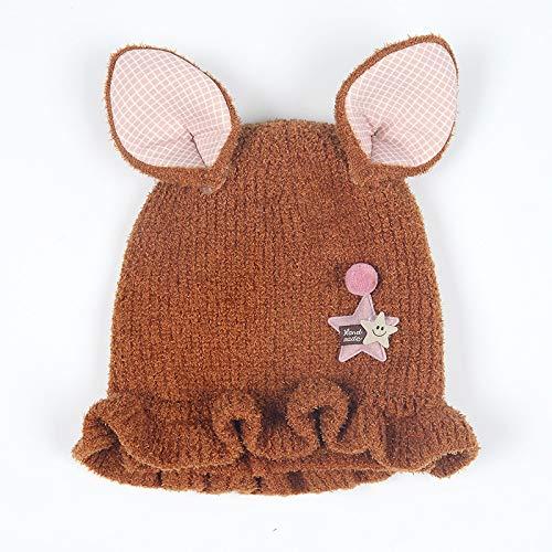 geiqianjiumai New Baby Hut 3-12 Monate weibliche Baby Prinzessin Hut Kind Wolle Strickmütze Mädchen Kappen braun - 5/4 Western Leder