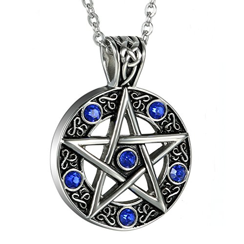 Witch necklace amazon oidea mens stainless steel hollow vitnage star pentagram pentacle pendant necklacepagan wiccan witch gothic pewter chain included aloadofball Image collections