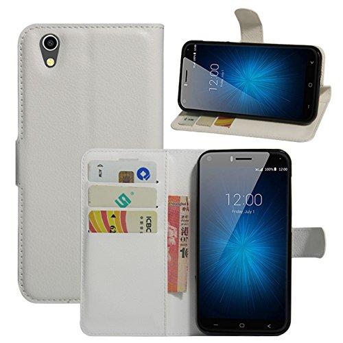 HualuBro UMIDIGI London Hülle, [All Aro& Schutz] Premium PU Leder Leather Wallet Handy Tasche Schutzhülle Case Flip Cover mit Karten Slot für UMIDIGI London 5.0 Inch 3G Smartphone (Weiß)