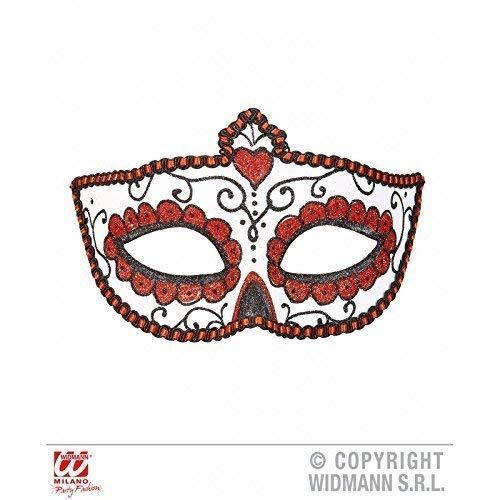 Lively Moments Augenmaske Dia de los Muertos mit Borte und Glitzer in weiß - rot - schwarz/Halloween/Fasching