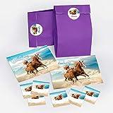 JuNa-Experten 8 Einladungskarten zum Kindergeburtstag Pferd / Fohlen / Zwei Pferde / schöne und Bunte Einladungen für Mädchen inkl. 8 Umschläge, 8 Party-Tüten / lila, 8 Aufkleber
