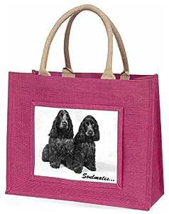 Advanta blau Roan Cocker Spaniel Hunde, SOULMATES Große Einkaufstasche Weihnachten Geschenk Idee, Jute, Rosa, 42x 34,5x 2cm