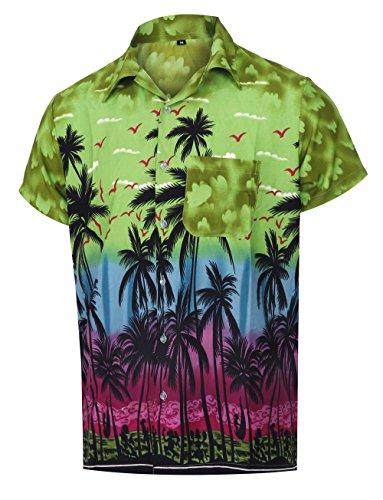 Camicia colletto hawaiano a manica corta con maniche lunghe per uomo. camicia moda casual stampata con palmo, verde scuro, m | petto: 44