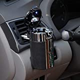 KKmoon Car Portable Cigar Cigarette Ashtray Smokeless Carbon Fiber Car Ashtray with Led Light Cylinder