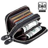 Porta Carte di Credito RFID Donna Uomo, Foonii Portafoglio multifunzionale, Pelle Portamonete con Cerniera, Caso di Carte, 10 Card slot e 2 Compartimenti, Pacco regalo (Nero)