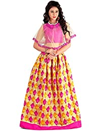 Shree Women's Silk Unstitched Lehenga Choli (SRENT005_Multi-Coloured_Free Size)