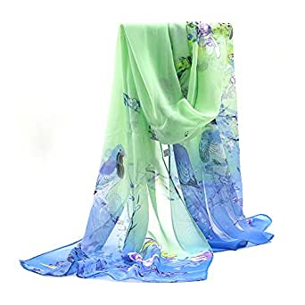 Sanwood Ladies Chiffon Scrawl Flower Printed Wrap Scarf (Blue with Green)