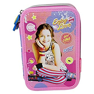 Disney Soy Luna Enjoy Love Estuche Escolar Làpices de colores Plumier triple