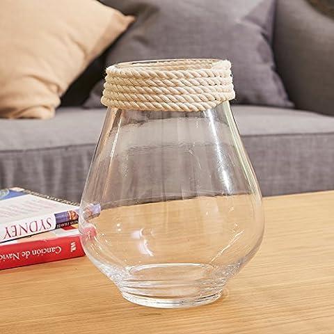 qwer Acqua Creative Pui-trasparenti di vasi in vetro idilliaca casa minimalista vasi in vetro dimostrazione di Ikebana con sisal pezzo decorativo , bottiglia grande di fiori n.