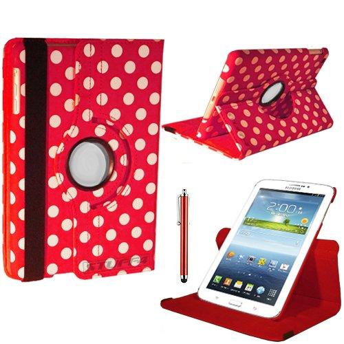 Design Leder Smart Fall mit 360° Drehbar Action und gratis Displayschutzfolie/Stylus Touch Pen für 17,8cm Samsung Galaxy Tab 3T210/T211/P3200/P3210/Kids Edition-Rot/Weiß ()