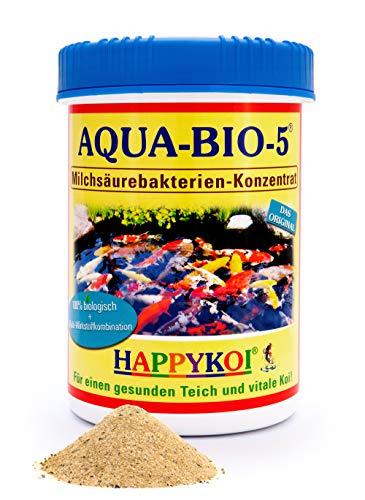 AQUA BIO 5 Milchsäurebakterien Pulver, probiotische Filterbakterien für Koiteich, Teich und Gartenteich, unterstützen die Nitrifizierung, bauen Algen und Schlamm ab. Der Rundum-Schutz für Koi und Teich. (1000 ml) -