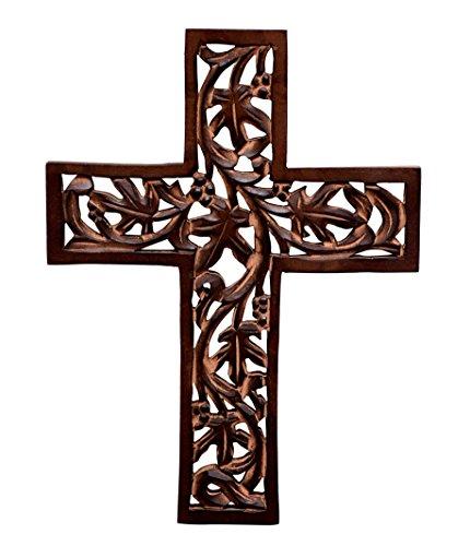 purpledip Holz Mauer Kreuz: handgeschnitzt Plaque Antik Design zum aufhängen für Religiöse Altar Home Wohnzimmer Dekor (10773)