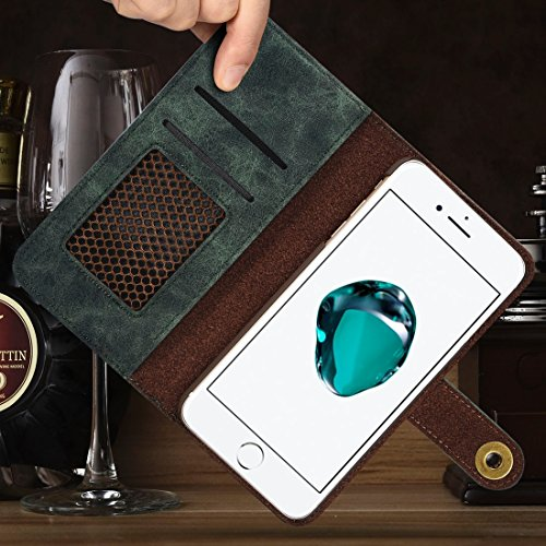 Wkae Retro Magnetic Horizontale Flip Leder Tasche mit Card Slots & Wallet & Photo Frame & Abnehmbare Rückseite für iPhone 7 Plus iPhone 8 Plus ( Color : Brown ) Green