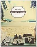 DÉKOKIND Reisetagebuch zum Selberschreiben | DIN A4, 100+ Seiten, Register, Vintage Softcover | Auch als Abschiedsgeschenk | Motiv: Relax