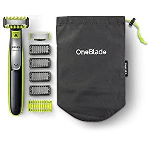Philips OneBlade Hybrid Body and Face Stubble Trimmer with 4 x Lengths, One Extra Blade and Travel Pouch, Amazon Exclusive (UK 2-Pin Bathroom Plug), QP2630/30