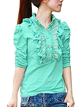 Allegra K collarín Bata De mujer, medio De botones-Camiseta De manga corta con cuello alto, bombacho