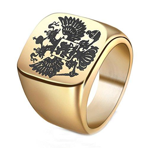 Budazo Herren Russische Emblem Doppelter Kopf Adler Logo Titan Stahl Ringe,Gold,Größe 70(22.3)