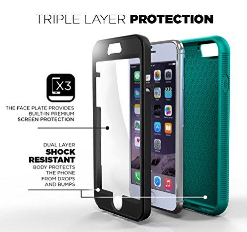 iPhone 6S (2015 Release) BallisticSHIELD Armor Slim Case & Belt Clip (Quick-release holster design) [Encased Lifetime Guarantee] Teal/Black Teal/Black