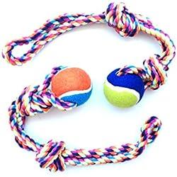 2 pcs juguete cuerda con pelota para perro mascota animales