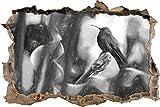 Hummingbird dans son effet de charbon de bois d'habitat naturel percée de mur en 3D look, mur ou format vignette de la porte: 92x62cm, stickers muraux, sticker mural, décoration murale