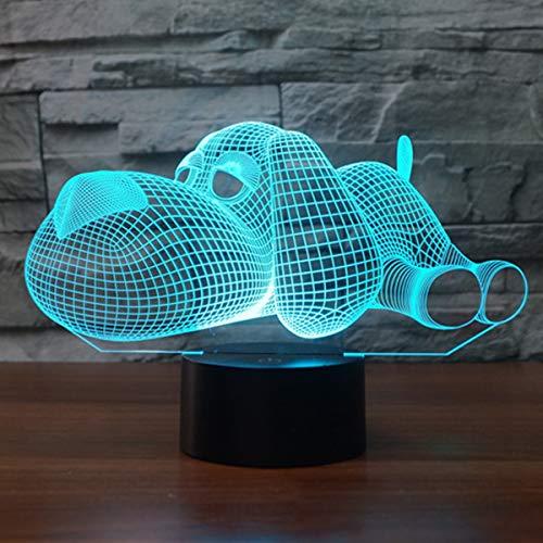 3D Illusion Lampe LED Nachtlicht Lampen, KidsPark Optische Hund Nachtlichter Tischlampe Kinder Nachttischlampe 7 Farben ändern Schreibtischlampe Mit USB-Kabel