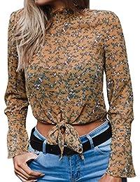SEWORLD 2018 Damen Mode Sommer Herbst Frauen Chiffon Blumen Aufflackern Hülse Kurze Bogen Shirt Leopard Drucken Top Bluse Crop