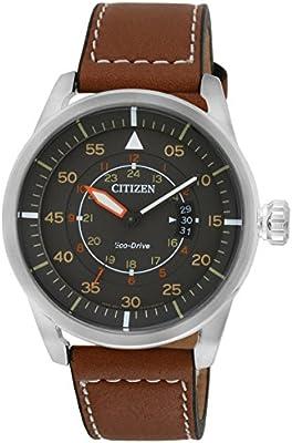 Citizen  AW1360-12H - Reloj de cuarzo para hombre, con correa de cuero, color marrón