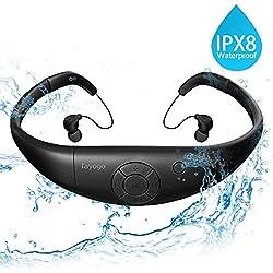 Tayogo Reproductor de MP3 IPX8 mp3 Impermeable natación, 8GB de Memoria, Permite descargar 2000 Canciones Ultra-Ligero Disco U Resistente al Calor 60 Nadar Carrera Excursionismo SPA (Negro)