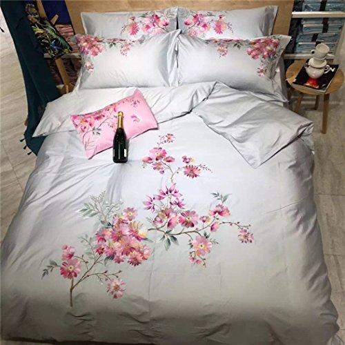 GAOYUHUA Bettbezug-Sets, Bettwäsche und Kissenbezüge, Decke decken europäische Stickerei Baumwolle Bettbezug Sets Bettwäsche Quilt Sets, 4 Stück,A,King 220*240cm