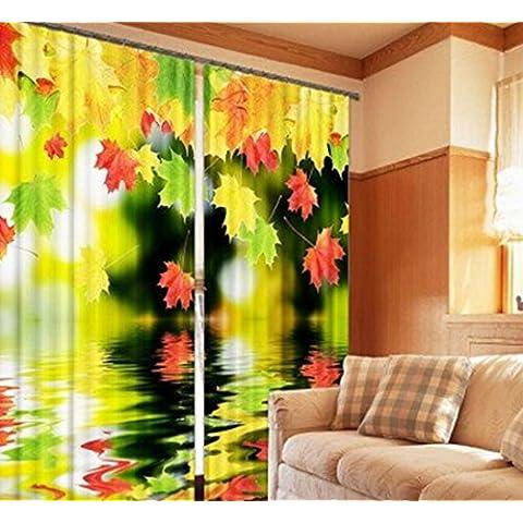 Water villa Maple Leaf pieno oscuranti caldi decorato tende camera da letto di lino finito 3D , wide 3.6x high 2.7