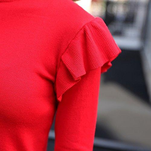 LAEMILIA Pull Femme Hiver en Tricot Chaud Slim Epaule Feuille de Lotus Chandail Manches Longues Veste Top Pull-Over Collant Elégant Rouge