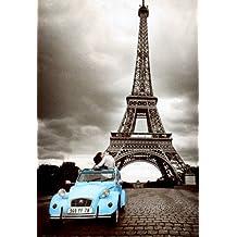 1art1 43697 París - Póster de enamorados bajo la torre Eiffel (91 x 61 cm)